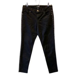 Evermore Black Studded Ankle Cropped Skinny Jeans